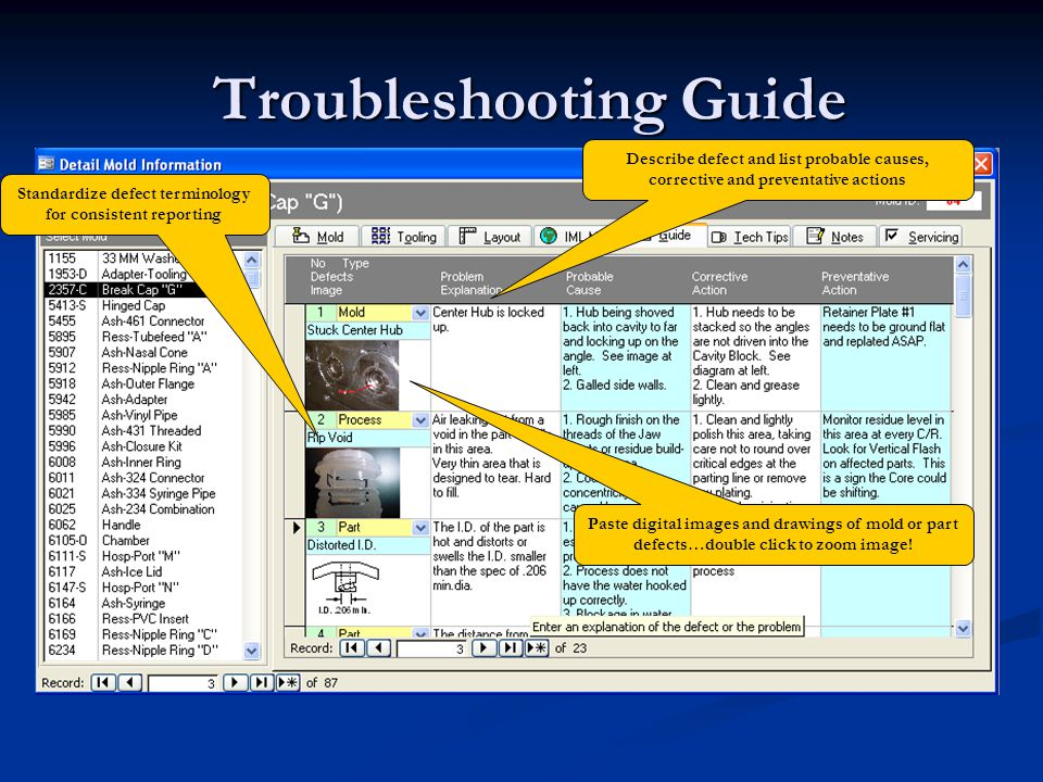 Troubleshooting Guide Troubleshooting Guide Describe defect and list probable causes, corrective and preventative actions Paste digital images and dra