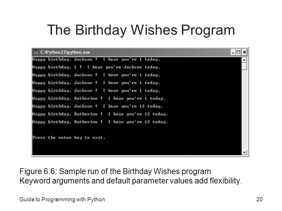 Guide to Programming with Python20 The Birthday Wishes Program Figure 6.6: Sample run of the Birthday Wishes program Keyword arguments and default par