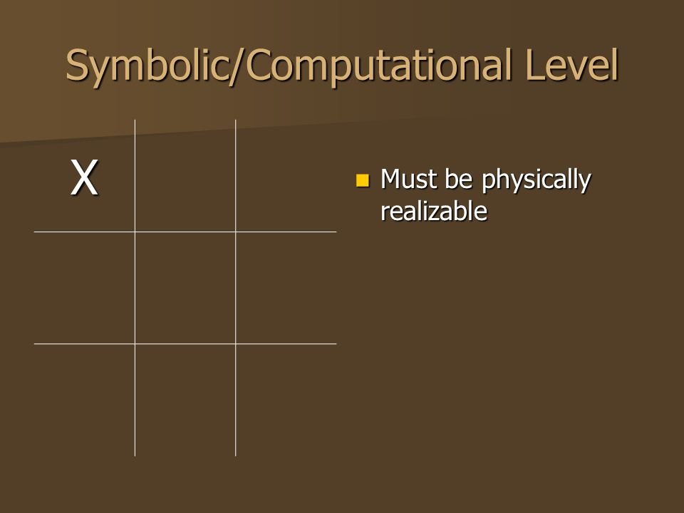 Symbolic/Computational Level XO Must be physically realizable Must be physically realizable Now INCLUDES consideration of rules Now INCLUDES consideration of rules