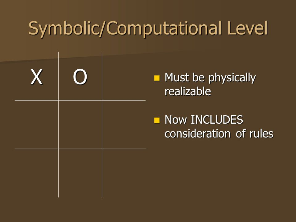 Symbolic/Computational Level XO Must be physically realizable Must be physically realizable Now INCLUDES consideration of rules Now INCLUDES considera