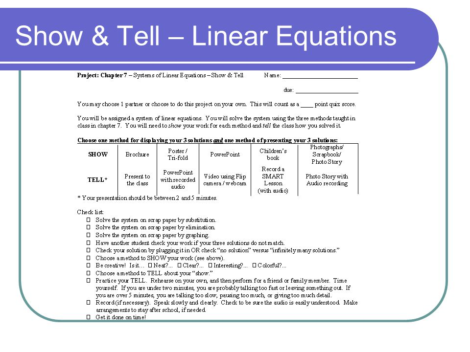 Show & Tell – Linear Equations