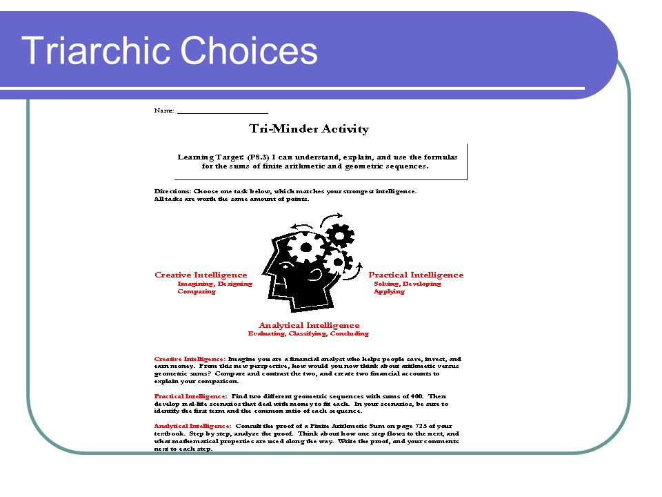 Triarchic Choices