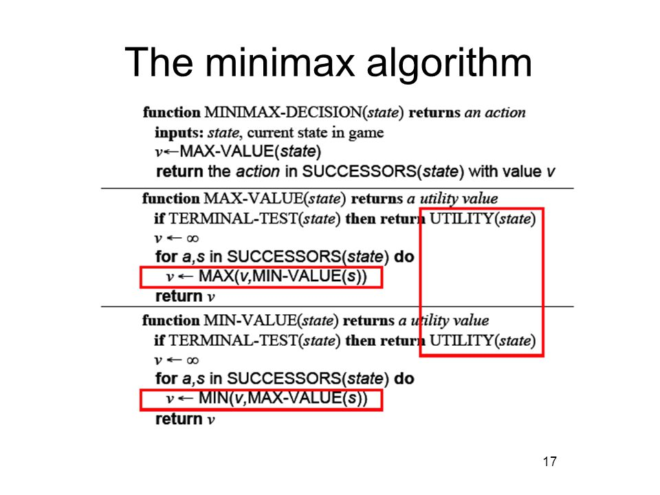 17 The minimax algorithm