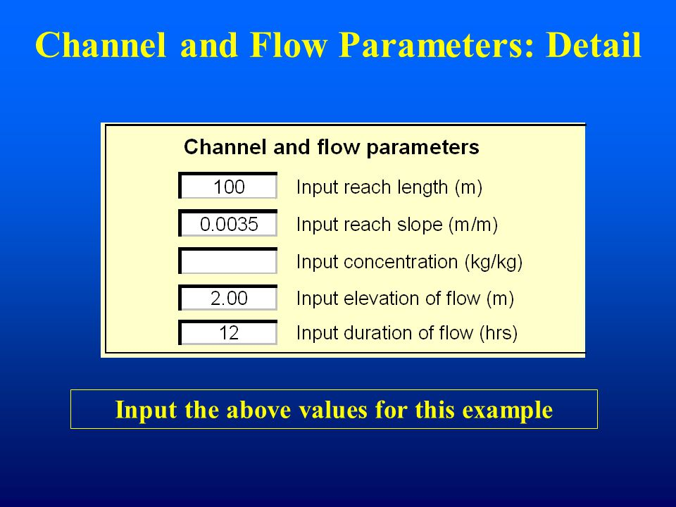 Channel and Flow Parameters: Detail Input the above values for this example