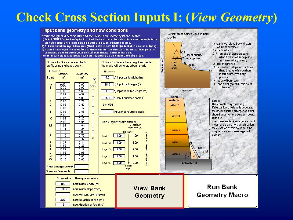 Check Cross Section Inputs I: (View Geometry)