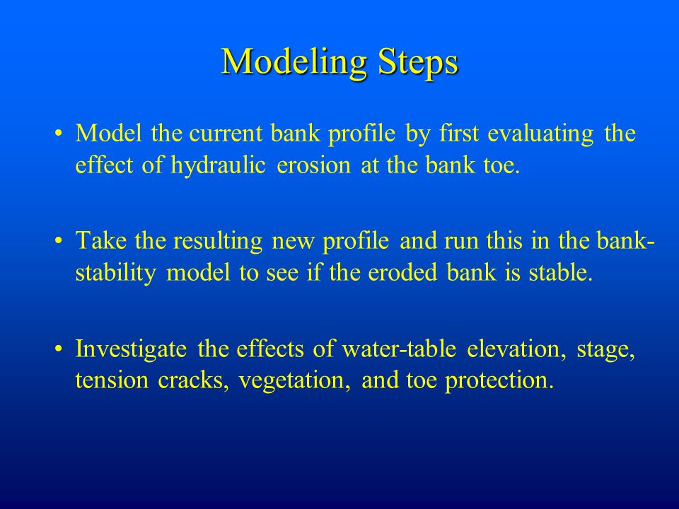 Modeling Steps Model the current bank profile by first evaluating the effect of hydraulic erosion at the bank toe.