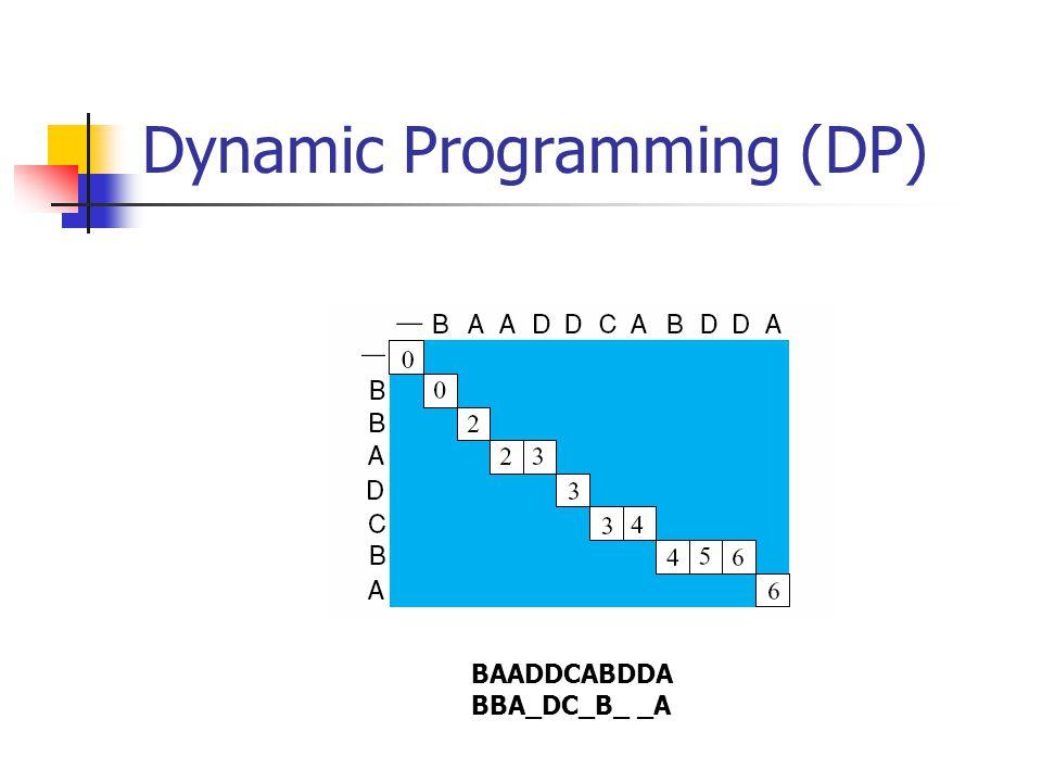 Dynamic Programming (DP) BAADDCABDDA BBA_DC_B_ _A