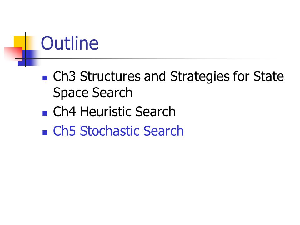 Outline Ch3 Structures and Strategies for State Space Search Ch4 Heuristic Search Ch5 Stochastic Search