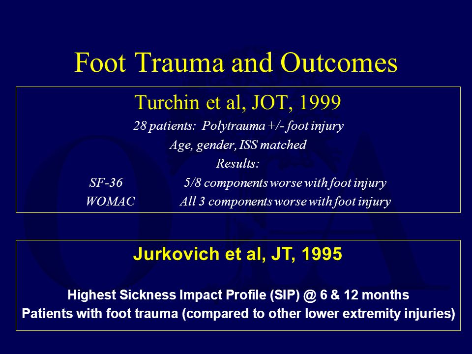 Foot Trauma and Outcomes Turchin et al, JOT, 1999 28 patients: Polytrauma +/- foot injury Age, gender, ISS matched Results: SF-365/8 components worse