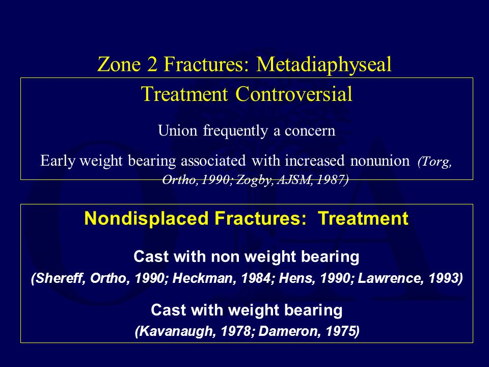 Treatment Controversial Union frequently a concern Early weight bearing associated with increased nonunion (Torg, Ortho, 1990; Zogby, AJSM, 1987) Nond