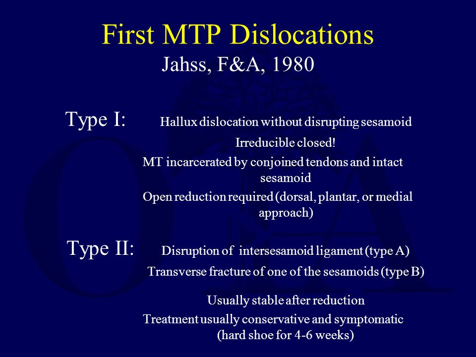 First MTP Dislocations Jahss, F&A, 1980 Type I: Hallux dislocation without disrupting sesamoid Irreducible closed! MT incarcerated by conjoined tendon
