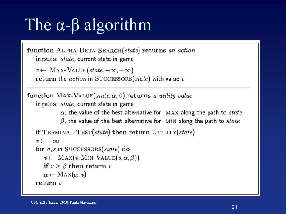 21 CSC 8520 Spring 2010. Paula Matuszek The α-β algorithm