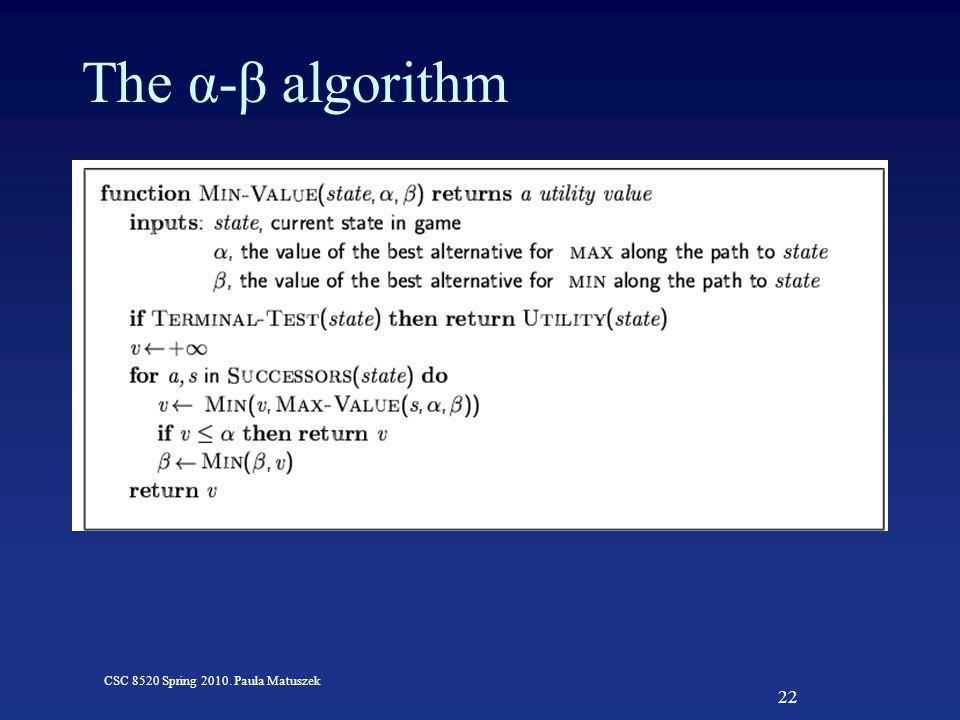 22 CSC 8520 Spring 2010. Paula Matuszek The α-β algorithm