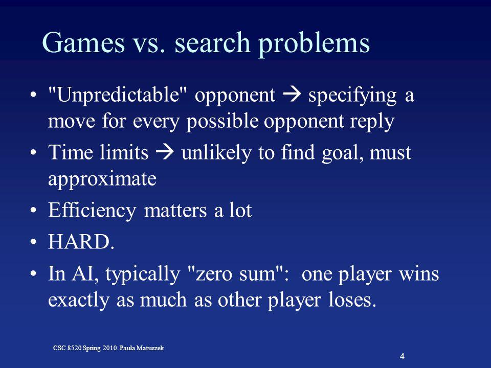 4 CSC 8520 Spring 2010. Paula Matuszek Games vs. search problems