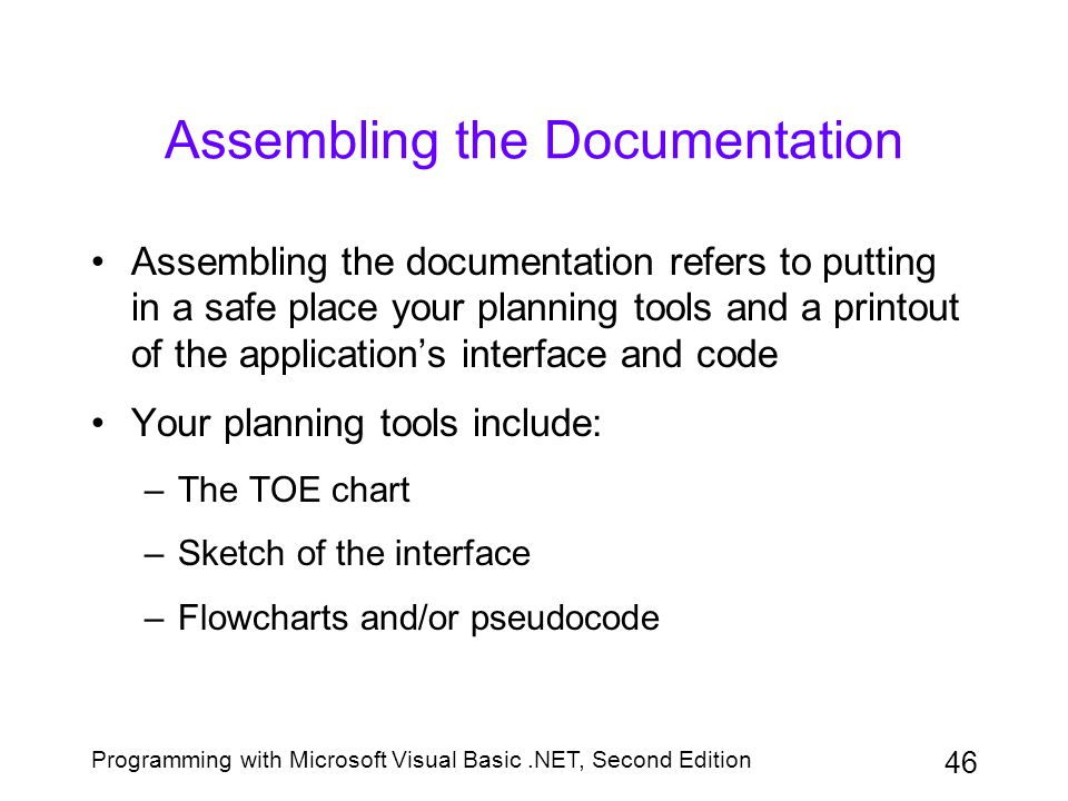 Programming with Microsoft Visual Basic.NET, Second Edition 46 Assembling the Documentation Assembling the documentation refers to putting in a safe p