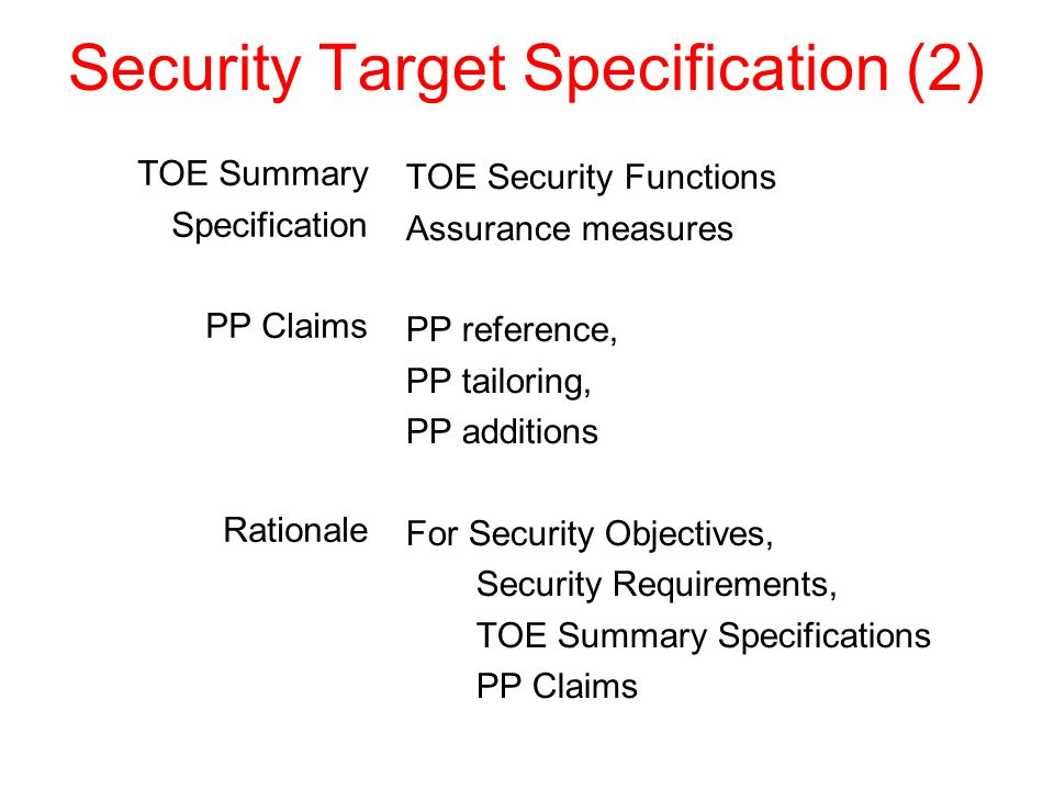 Security Target Specification (2) TOE Summary Specification PP Claims Rationale TOE Security Functions Assurance measures PP reference, PP tailoring, PP additions For Security Objectives, Security Requirements, TOE Summary Specifications PP Claims