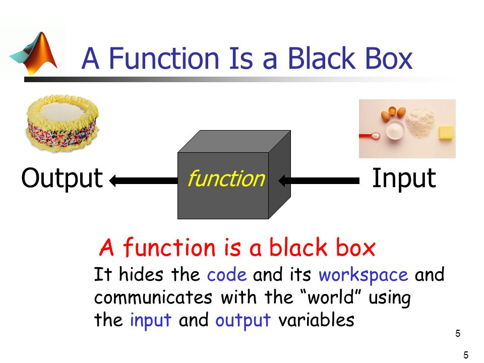 "5 A Function Is a Black Box 5 InputOutput function A function is a black box It hides the code and its workspace and communicates with the ""world"" usi"