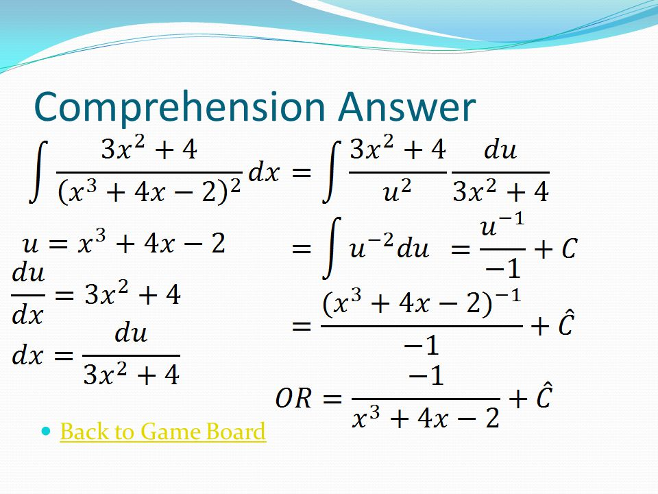 Comprehension Answer Back to Game Board