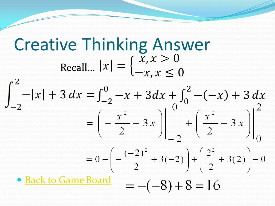 Creative Thinking Answer Back to Game Board Recall…