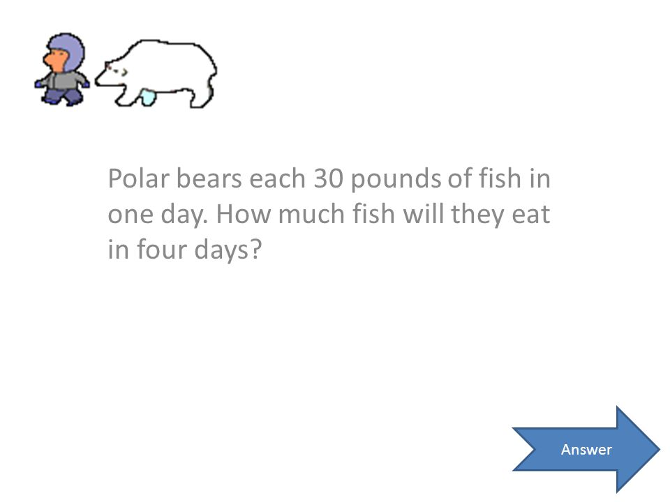 Polar bears each 30 pounds of fish in one day. How much fish will they eat in four days? Answer