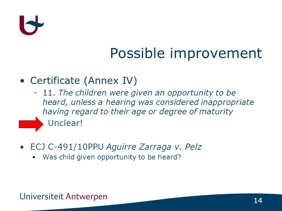 14 Possible improvement Certificate (Annex IV) -11.
