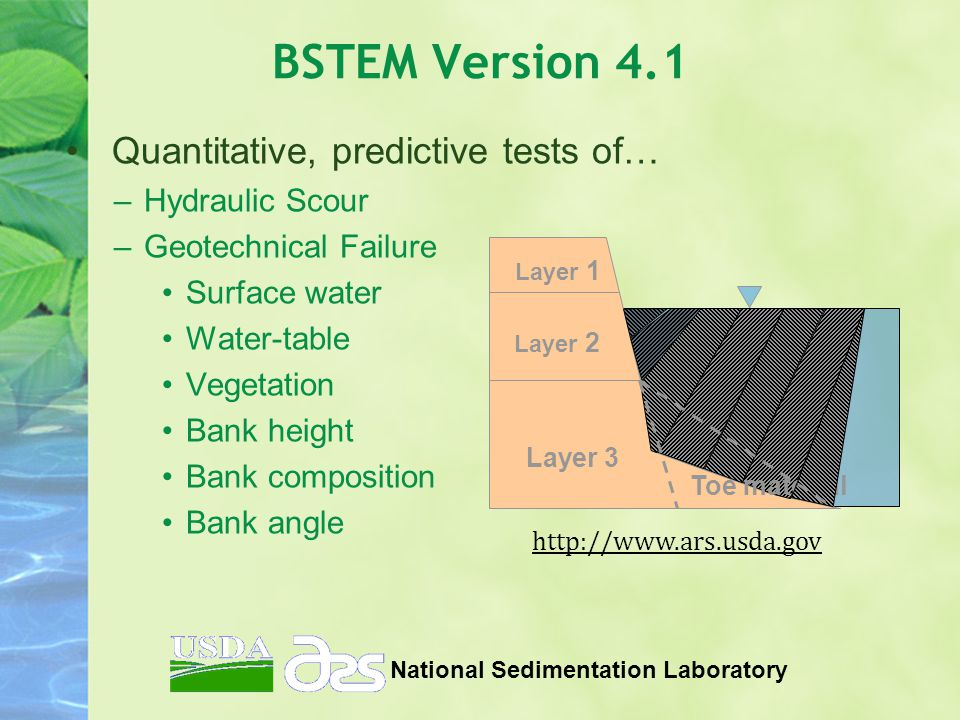 BSTEM Version 4.1 Quantitative, predictive tests of… –Hydraulic Scour –Geotechnical Failure Surface water Water-table Vegetation Bank height Bank composition Bank angle National Sedimentation Laboratory Layer 1 Layer 2 Layer 3 Toe material http://www.ars.usda.gov