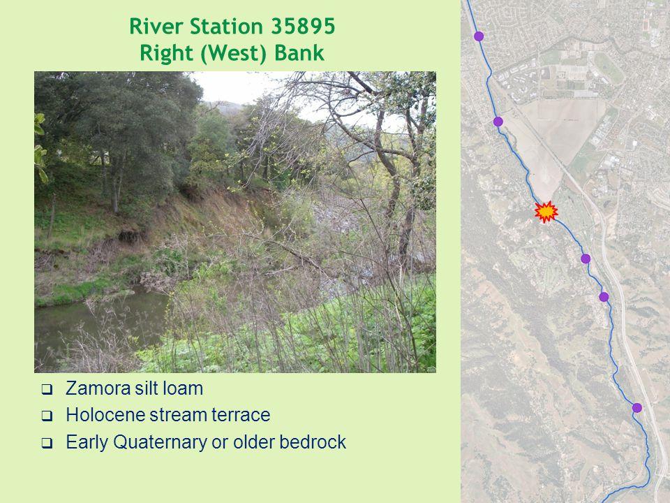 River Station 35895 Right (West) Bank  Zamora silt loam  Holocene stream terrace  Early Quaternary or older bedrock