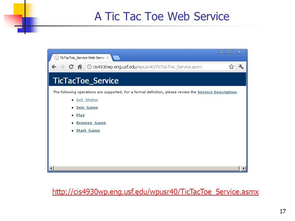 17 A Tic Tac Toe Web Service http://cis4930wp.eng.usf.edu/wpusr40/TicTacToe_Service.asmx