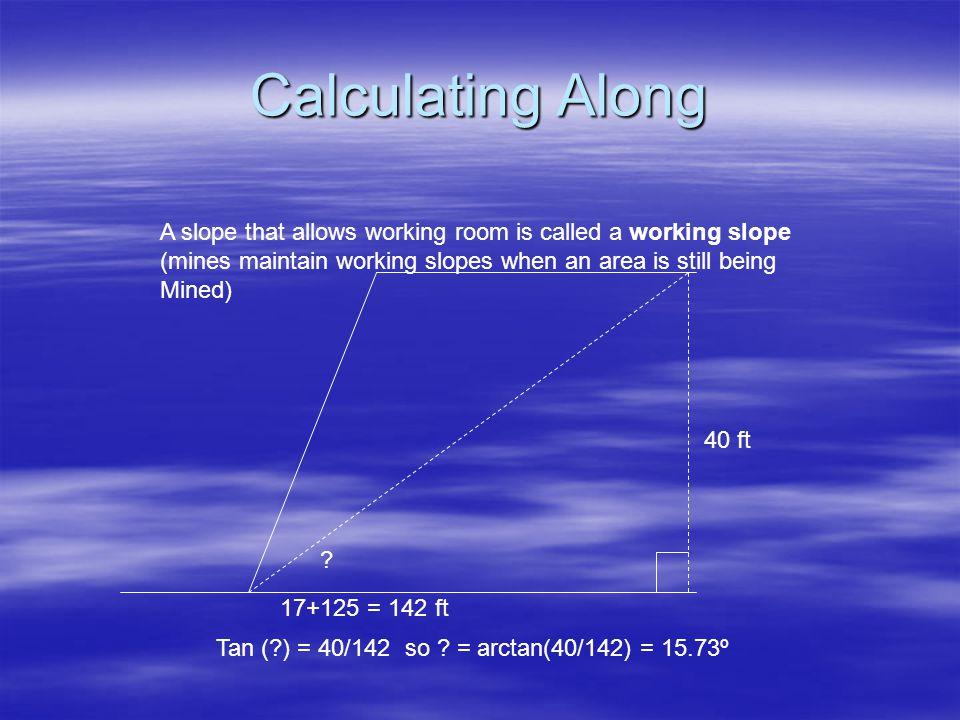 Calculating Along 17+125 = 142 ft 40 ft Tan (?) = 40/142 so .