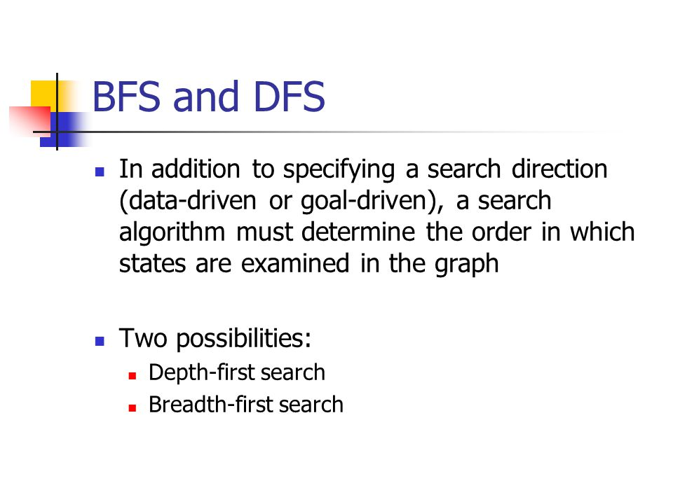 BFS and DFS In DFS, when a state is examined, all of its children and their descendants are examined before any of its siblings Breadth-first search explores the space in a level-by-level fashion