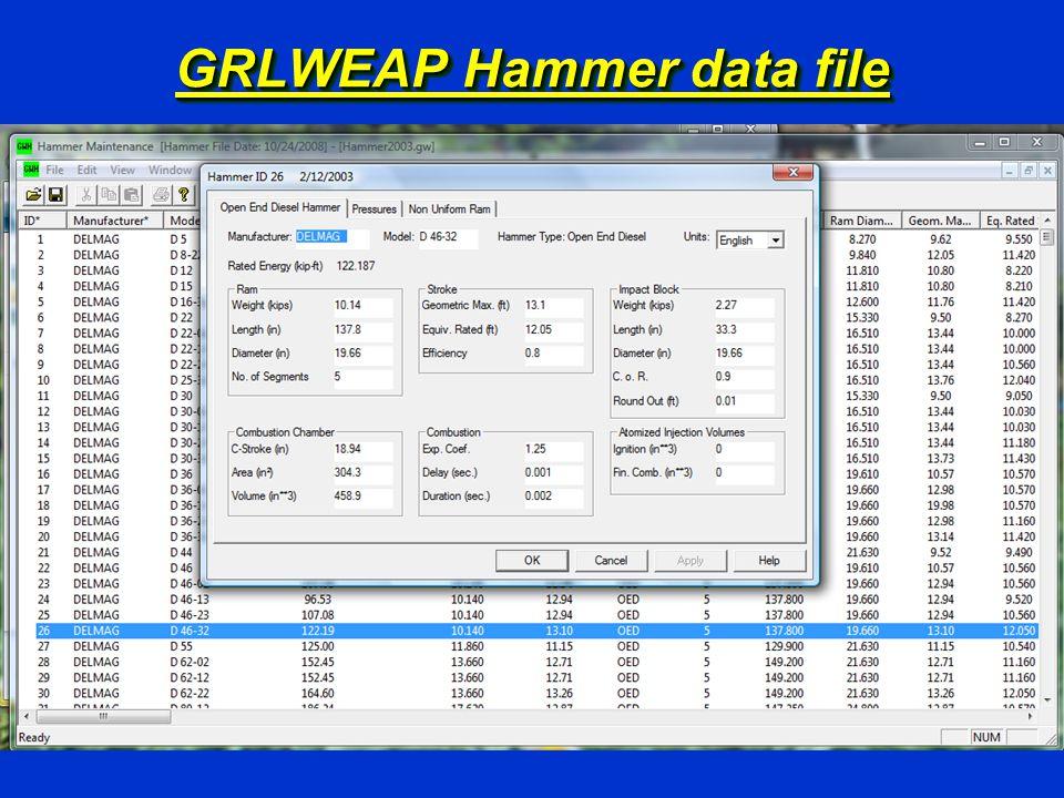 GRLWEAP Hammer data file