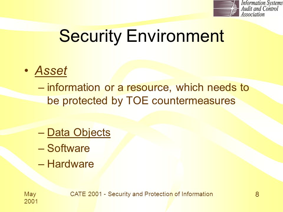 May 2001 CATE 2001 - Security and Protection of Information 8 Security Environment Asset –information or a resource, which needs to be protected by TOE countermeasures –Data Objects –Software –Hardware