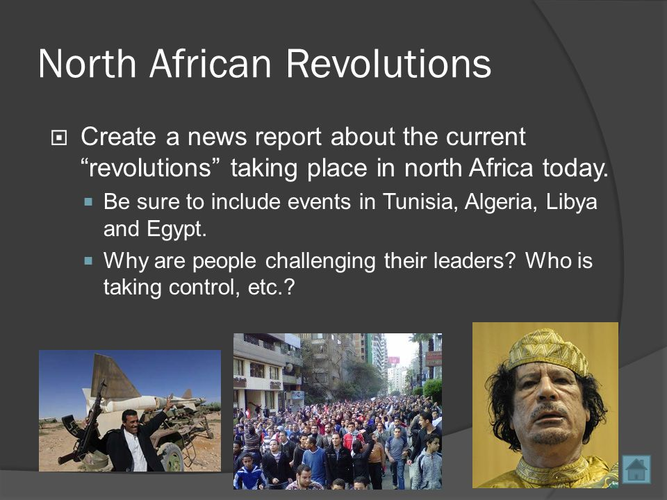 North African Revolutions  Create a news report about the current revolutions taking place in north Africa today.