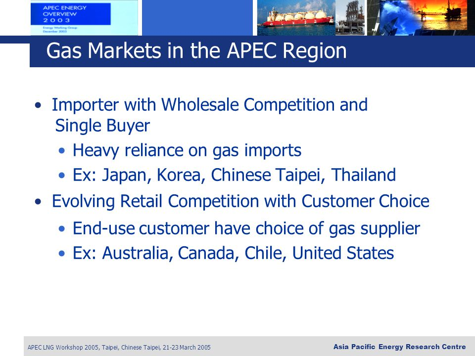 APEC LNG Workshop 2005, Taipei, Chinese Taipei, 21-23 March 2005 Asia Pacific Energy Research Centre Importer with Wholesale Competition and Single Bu
