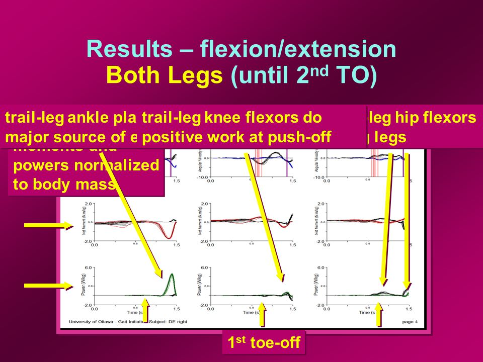 Results – flexion/extension Both Legs (until 2 nd TO) 1 st toe-off moments and powers normalized to body mass moments and powers normalized to body mass trail-leg ankle plantar flexors major source of energy lead and trail-leg hip flexors used to swing legs trail-leg knee flexors do positive work at push-off