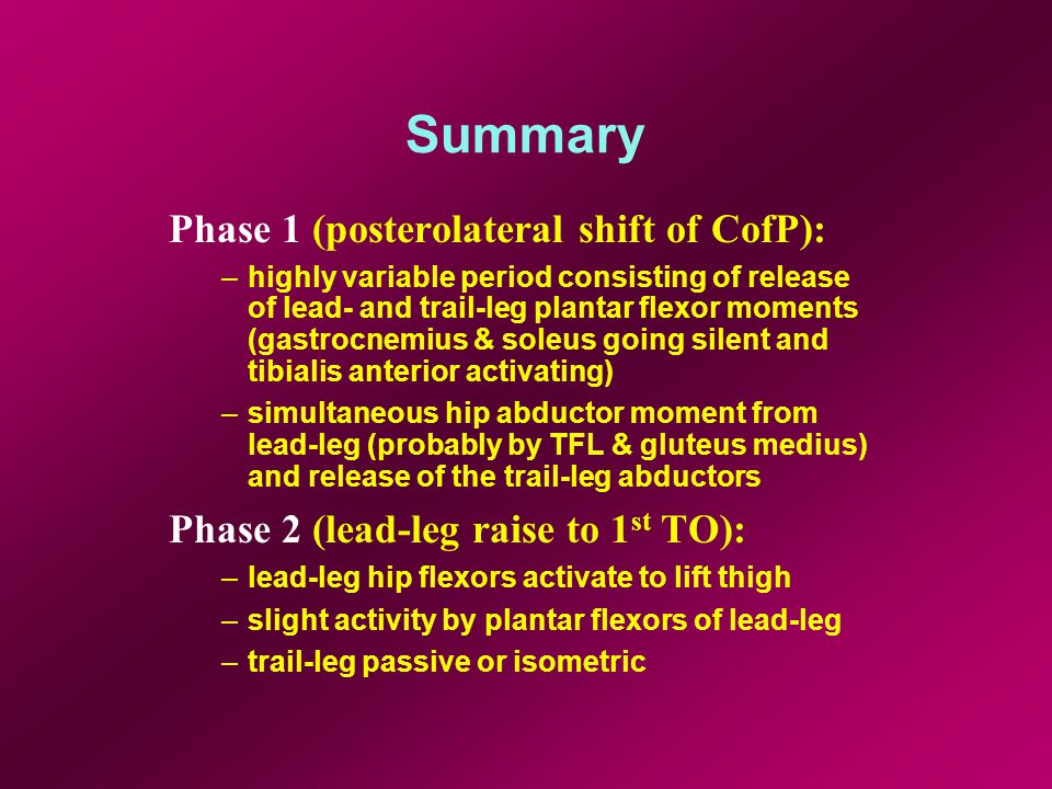 Summary Phase 1 (posterolateral shift of CofP): –highly variable period consisting of release of lead- and trail-leg plantar flexor moments (gastrocnemius & soleus going silent and tibialis anterior activating) –simultaneous hip abductor moment from lead-leg (probably by TFL & gluteus medius) and release of the trail-leg abductors Phase 2 (lead-leg raise to 1 st TO): –lead-leg hip flexors activate to lift thigh –slight activity by plantar flexors of lead-leg –trail-leg passive or isometric
