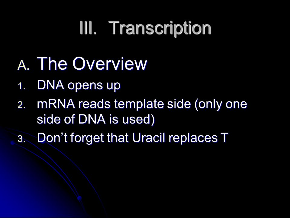 III.Transcription D. RNA splicing 1. Introns = non-coding sections 2.
