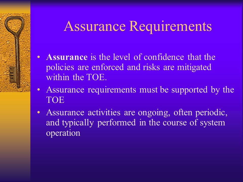 Assurance Requirements Assurance is the level of confidence that the policies are enforced and risks are mitigated within the TOE. Assurance requireme