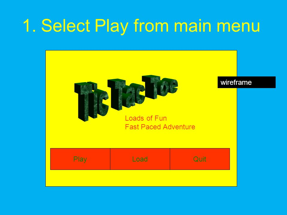 1.Select Play from main menu Loads of Fun Fast Paced Adventure PlayLoadQuit wireframe