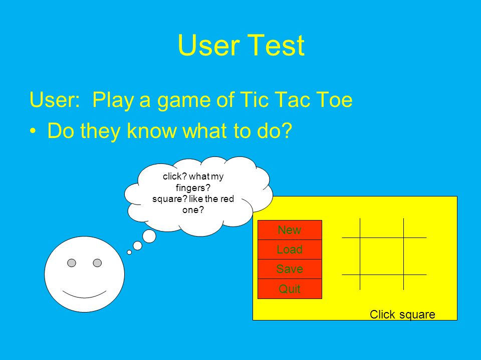 User Test User: Play a game of Tic Tac Toe Do they know what to do.
