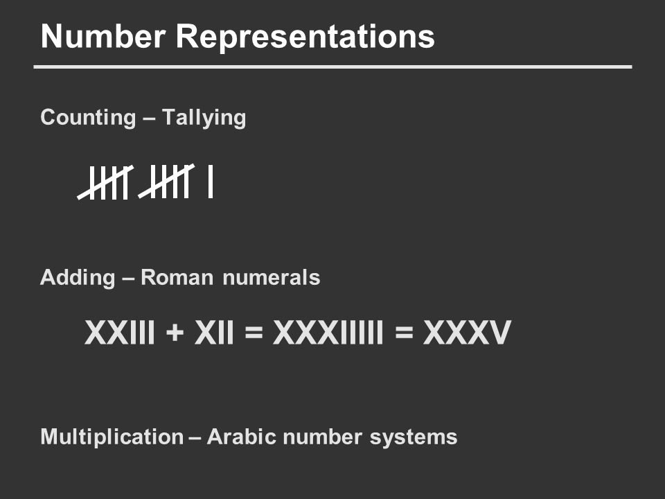 Number Representations Counting – Tallying Adding – Roman numerals Multiplication – Arabic number systems XXIII + XII = XXXIIIII = XXXV