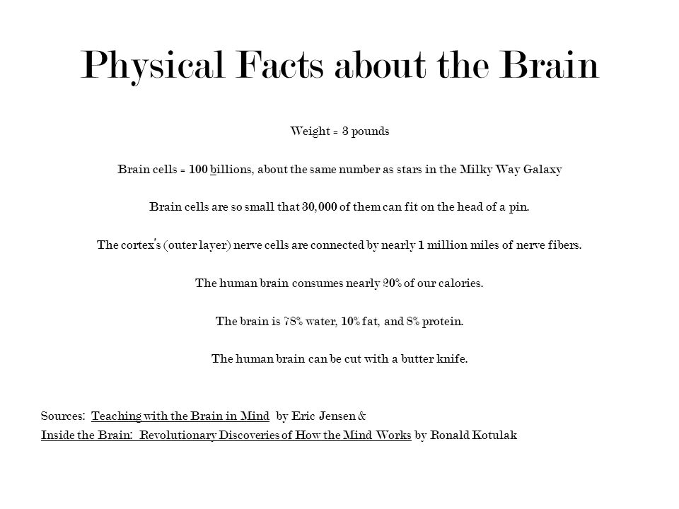 Physical Facts about the Brain Weight = 3 pounds Brain cells = 100 billions, about the same number as stars in the Milky Way Galaxy Brain cells are so small that 30,000 of them can fit on the head of a pin.