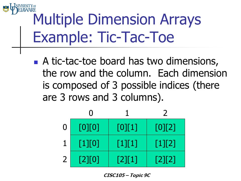CISC105 – Topic 9C Multiple Dimension Arrays Example: Tic-Tac-Toe A tic-tac-toe board has two dimensions, the row and the column. Each dimension is co