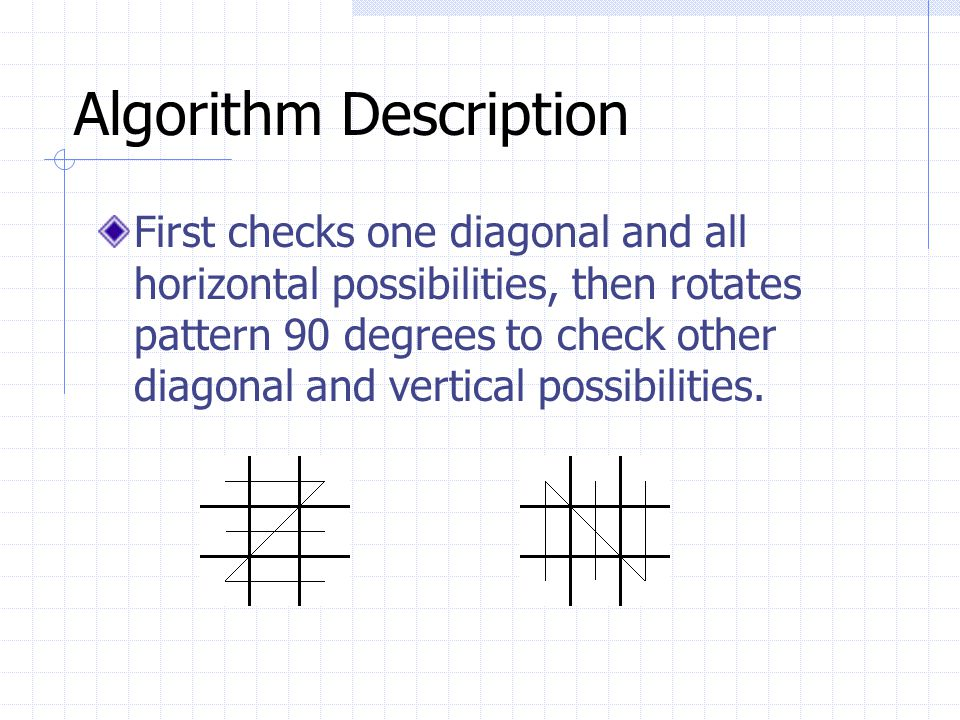 Algorithm Description First checks one diagonal and all horizontal possibilities, then rotates pattern 90 degrees to check other diagonal and vertical possibilities.