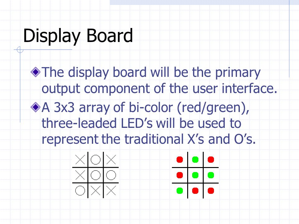 Display Board The display board will be the primary output component of the user interface.