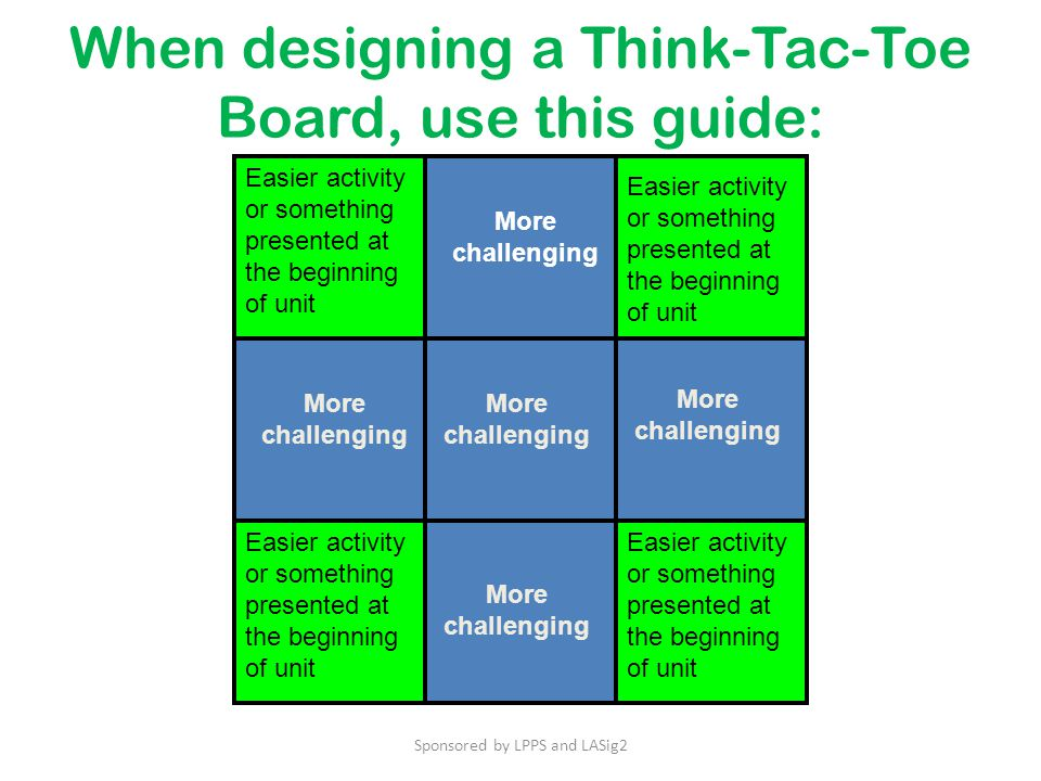 When designing a Think-Tac-Toe Board, use this guide: Easier activity or something presented at the beginning of unit More challenging Easier activity or something presented at the beginning of unit Sponsored by LPPS and LASig2