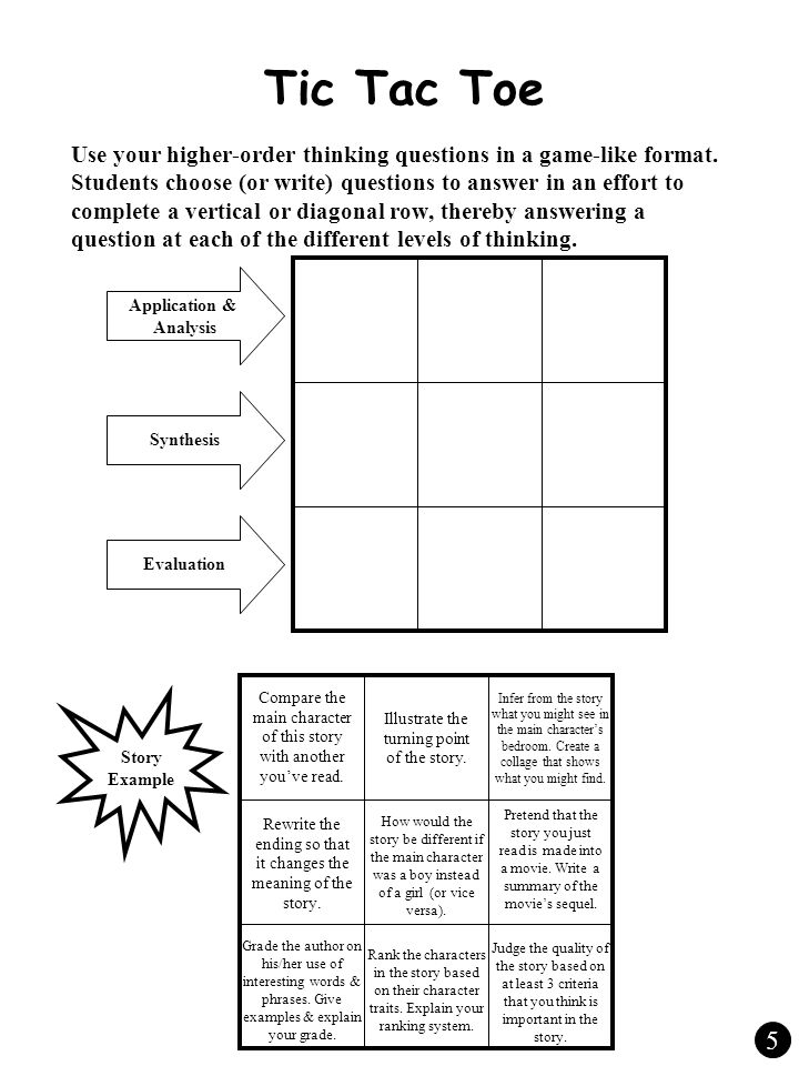 Tic Tac Toe Use your higher-order thinking questions in a game-like format.