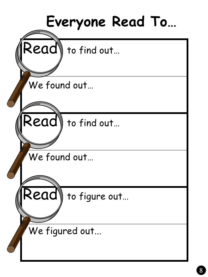 Everyone Read To… Read to find out… We found out… Read to find out… We found out… Read to figure out… We figured out... 8