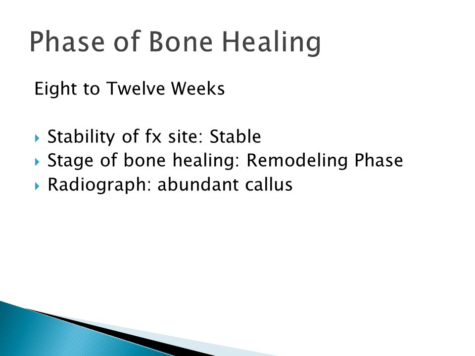 Eight to Twelve Weeks  Stability of fx site: Stable  Stage of bone healing: Remodeling Phase  Radiograph: abundant callus