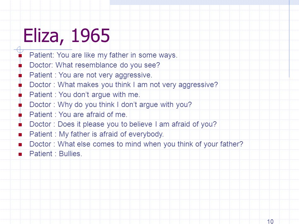 10 Eliza, 1965 Patient: You are like my father in some ways.